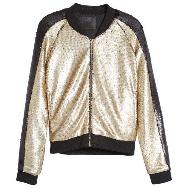 Blank NYC sequin bomber jacket in gold dust - Bomber jackets take the stage this season, and none more...