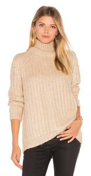 Blank NYC Turtleneck Sweater in beige - 70% acrylic 30% alpaca. Hand wash cold. Braided chunky...