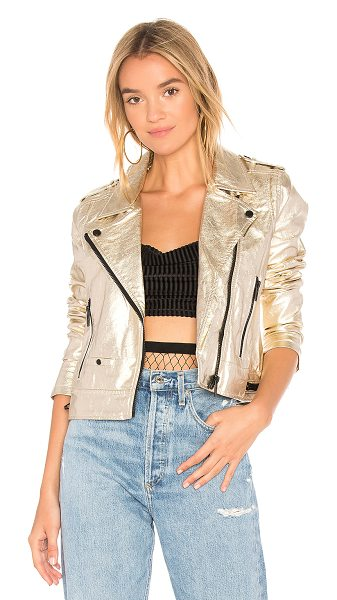 Blank NYC X REVOLVE Metallic Moto Jacket in metallic gold - Self: 60% poly 40% viscoseContrast: 97% poly 3% spandex....