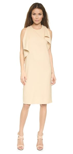 Blaque Label Asymmetrical tank dress in sand - Polished snaps open the slit shoulders of this simple...