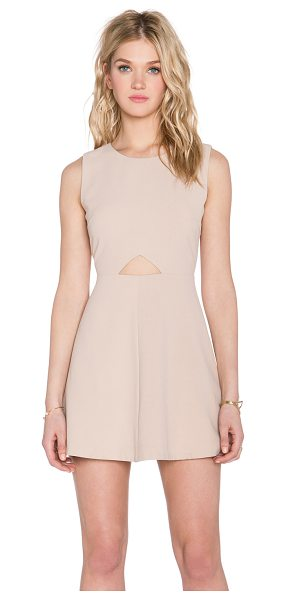 Blaque Label Cut out dress in beige - 100% poly. Dry clean only. Fully lined. Waist cut-out....