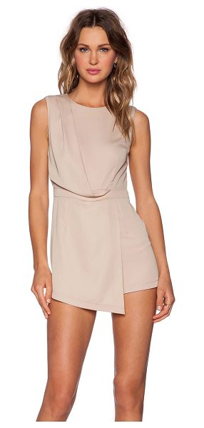 Blaque Label Faux Wrap Romper in beige - Poly blend. Hidden back zipper closure. BLAQ-WR7....