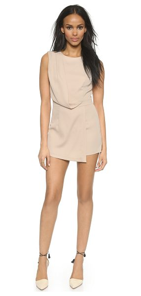 Blaque Label Faux wrap romper in sand - A structured Blaque Label romper with a diagonal fold...