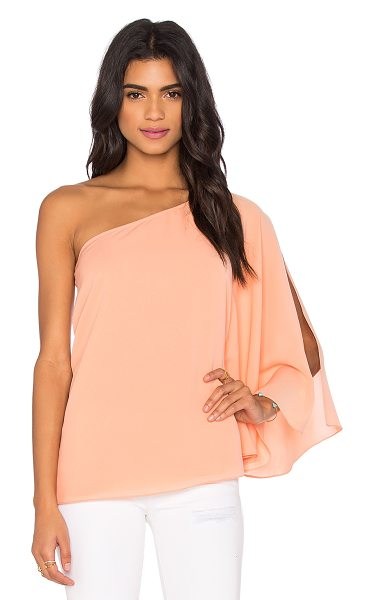 Blaque Label One Shoulder Winged Top in peach - 97% poly 3% spandex. Dry clean only. Side slit detail at...