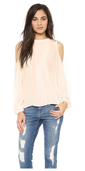 Blaque Label Pleated top in cream - Shoulder cutouts lend a flirty look to this Blaque Label...