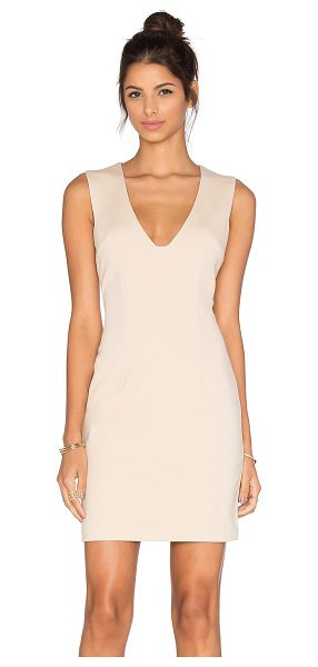 BLAQUE LABEL Plunging Neckline Mini Dress in beige - Shell: 61% rayon 39% nylonLining: 95% poly 5% spandex....