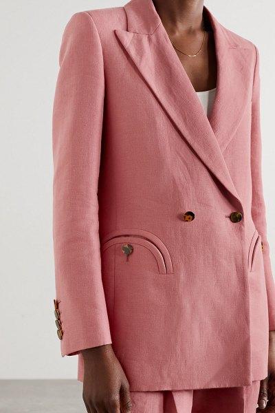 BLAZÉ MILANO midday sun everyday double-breasted linen blazer in pink