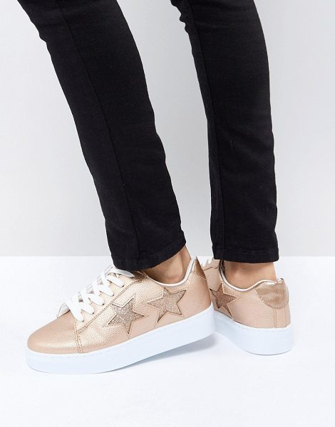 Blink flatform lace up sneakers in rosegold - Sneakers by Blink, Faux-leather upper, Textured finish,...