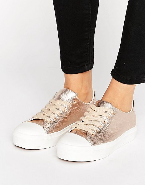 Blink Soft Toecap Lace Up Sneaker in copper - Sneakers by Blink, Faux-leather upper, Metallic finish,...