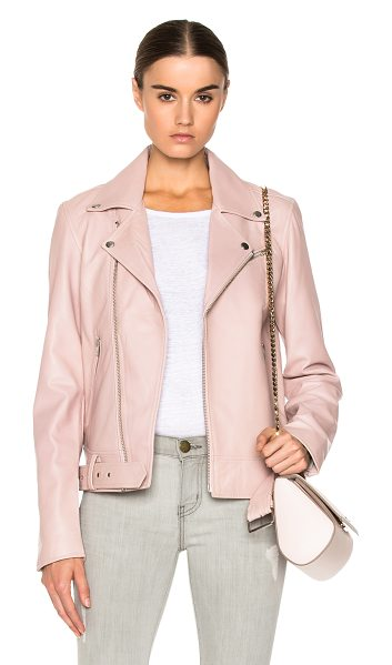 BLK DNM Leather jacket 18 in pink - Self: 100% leather - Lining: 100% poly.  Made in India. ...