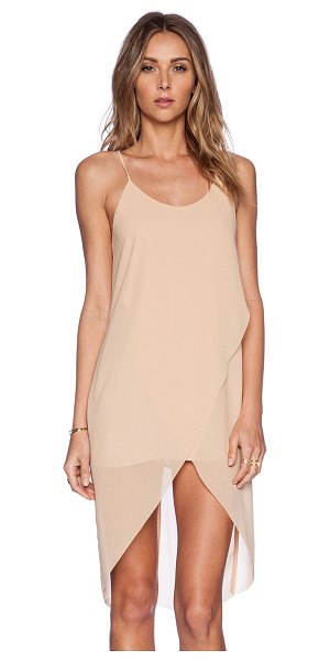 BLQ BASIQ Drape dress in tan - Shell & Lining: 100% poly. Layered front. BLQB-WD17....