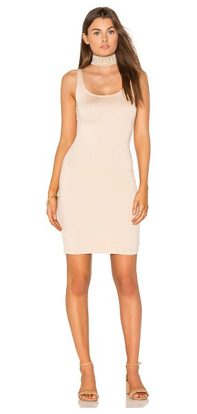 BLQ BASIQ Fitted Midi Dress in beige - 95% rayon 5% spandex. Dry clean only. Fully lined. Back...