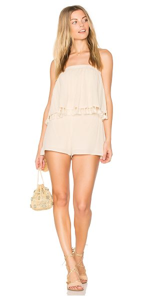 """BLQ BASIQ Layered Romper With Tassels in beige - """"Self: 55% rayon 45% viscoseLining: 100% poly. Dry clean..."""