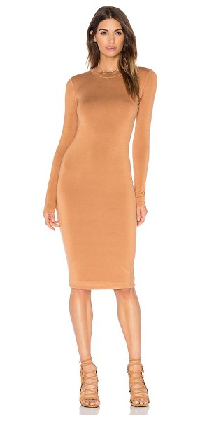 BLQ BASIQ Long Sleeve Mini Dress in tan - 95% rayon 5% spandex. Dry clean only. Fully lined....