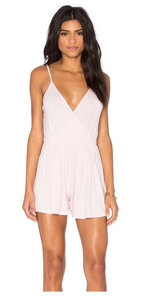 BLQ BASIQ Sleeveless Romper in pink - 95% rayon 5% nylon. Dry clean only. Surplice neckline....
