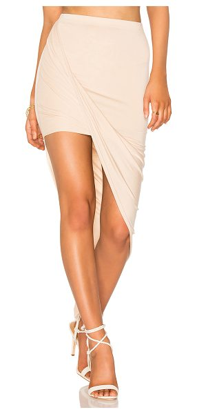 BLQ BASIQ Wrap Skirt in beige - 95% rayon 5% spandex. Dry clean only. Asymmetric hem....