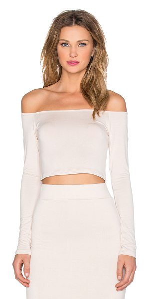 BLQ BASIQ X revolve exclusive off shoulder crop top in beige - 95% rayon 5% spandex. Hand wash cold. BLQB-WS59....