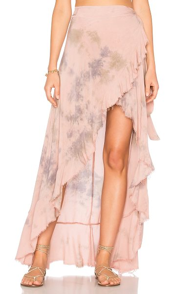 "Blue Life Aura Wrap Skirt in pink - ""100% rayon. Dry clean only. Unlined. Wrap front with..."