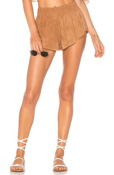 """Blue Life Beach Bunny Short in tan - """"100% rayon. Dry clean only. Smocked elastic waist...."""