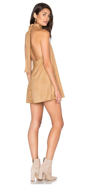 Blue Life Dancing Days Sueded Swing Dress in tan - 95% poly 5% spandex. Dry clean only. Unlined. Halter...