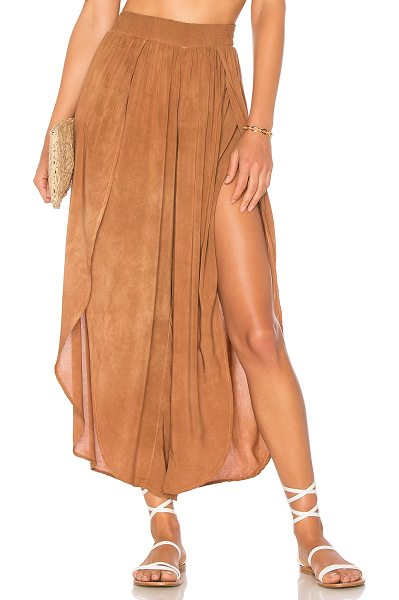 Blue Life Jeanne Wrap Culotte in tan - 100% rayon. Dry clean only. Smocked elastic waist....