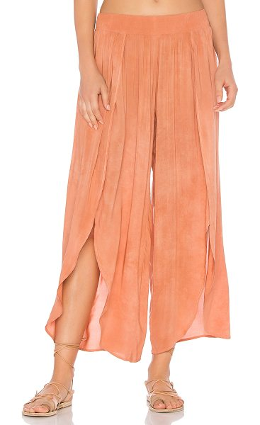 Blue Life Jeanne Wrap Culotte in pink - 100% rayon. Dry clean only. Smocked elastic waist....