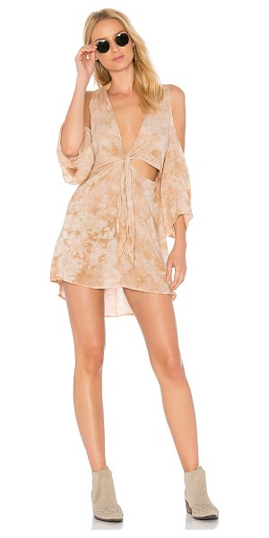 Blue Life Juliette Dress in tan - 100% rayon. Dry clean only. Unlined. Exposed shoulders....