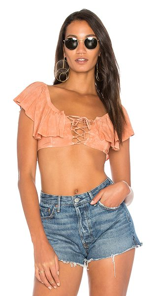 Blue Life Melanie Top in peach - 100% rayon. Dry clean only. Elasticized neckline....