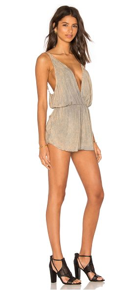 Blue Life Pool Party Romper in tan - 100% rayon. Dry clean only. Adjustable shoulder straps....