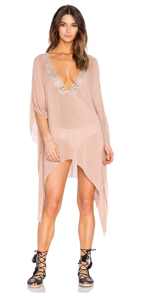 Blue Life Santorini Caftan in brown - 100% rayon. Dry clean only. Lace trim. Asymmetric hem....
