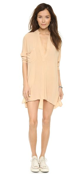 Blue Life Shirtdress in tan - A soft Blue Life shirtdress with a plunging split...