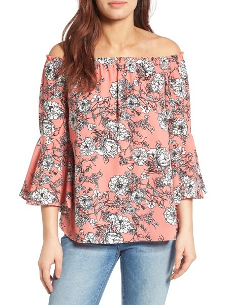 Bobeau bell sleeve off the shoulder blouse in coral/ eggshell