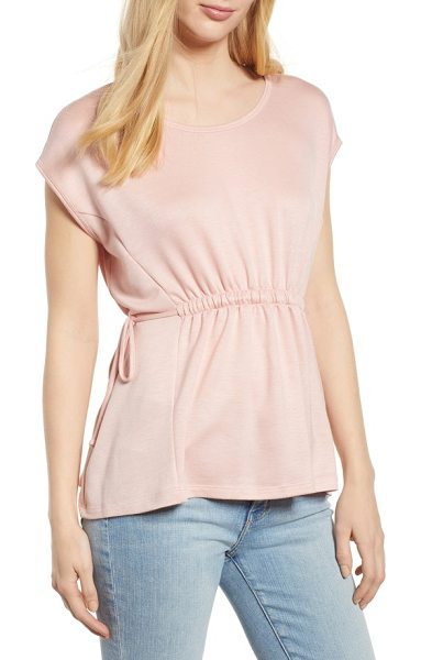 Bobeau cinched waist french terry top in mauve orchid - Side-tie drawstrings cinch in the waist to create an...
