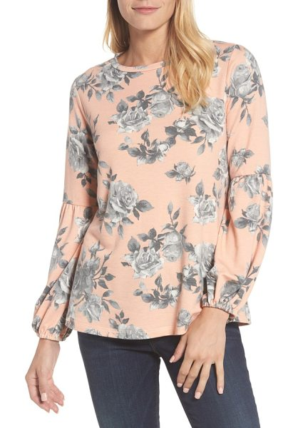 Bobeau floral print balloon sleeve sweatshirt in peach/ grey - Fanciful floral blooms decorate this cozy, stretch-knit...