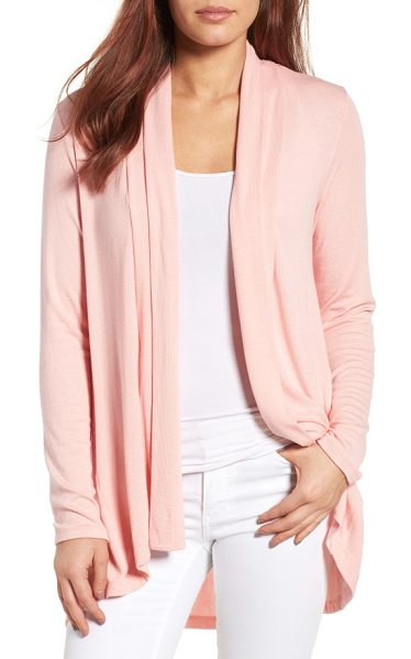 Bobeau high/low jersey cardigan in pink - A supersoft and flowy cardigan cut from fluid jersey...