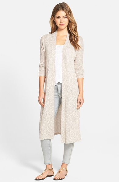 Bobeau long side slit open front cardigan in tan/ blush - A long, duster-length silhouette defines a laid-back...