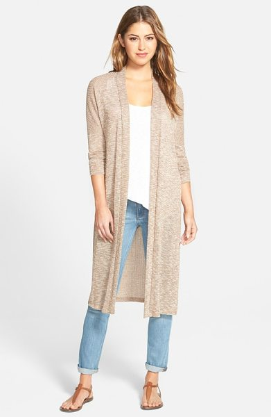 Bobeau long side slit open front cardigan in mushroom/ taupe - A long, duster-length silhouette defines a laid-back...