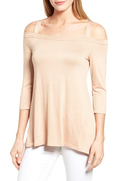 Bobeau off the shoulder top in natural - An A-line jersey top with graceful drape brings allure...