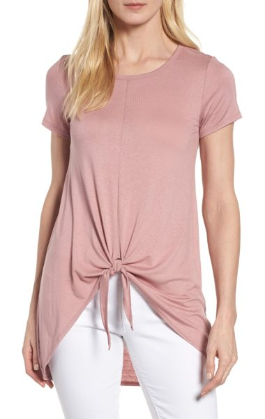 Bobeau tie front high/low tee in dusty pink - A soft, slouchy tie hem adds girlish flair to an...