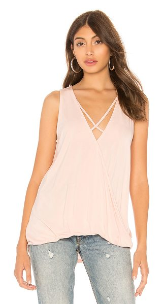 Bobi Bamboo Jersey Sleeveless Surplice Top in blush - 95% bamboo 5% spandex. Surplice front with criss-cross...