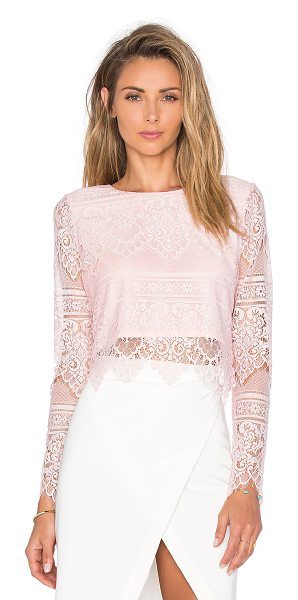 Bobi Black lace long sleeve crop top in pink - Self: 100% nylonLining: 100% poly. Hand wash cold. Back...