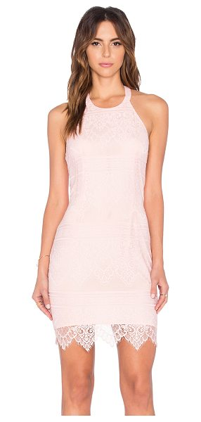 Bobi BLACK Lace Mini Dress in pink - Self: 100% nylonLining: 100% poly. Hand wash cold. Fully...