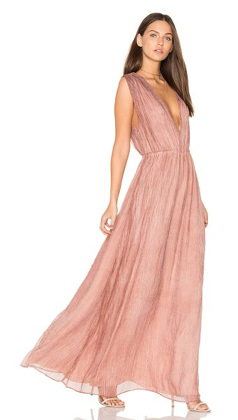 Bobi BLACK V Neck Maxi Dress in tan - 100% poly. Hand wash cold. Fully lined. Elasticized...