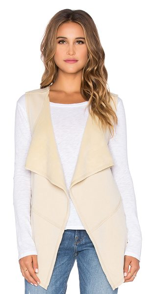 Bobi Bonded faux fur vest in tan - 55% poly 45% acrylic. Hand wash cold. Open front. Fleece...
