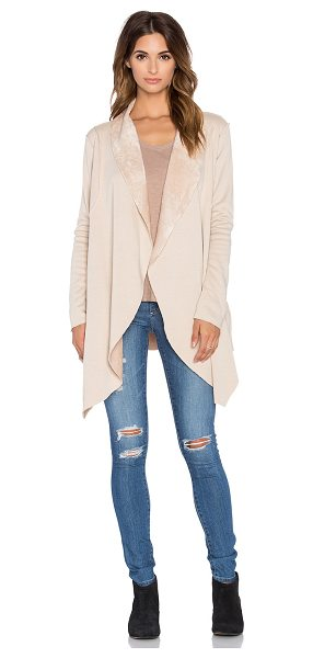 Bobi Bonded fur cardigan in tan - 55% poly 45% acrylic. Hand wash cold. Open front....