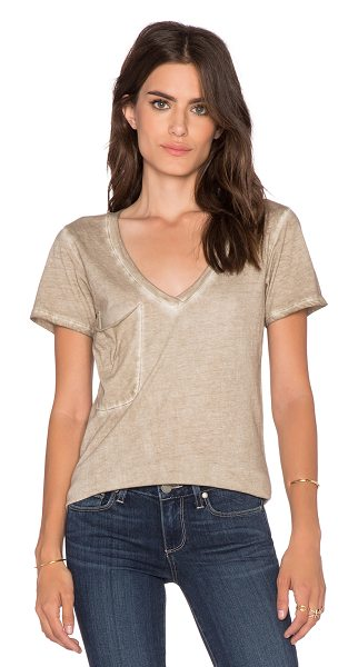 Bobi Cold water vintage wash v neck pocket tee in brown - 100% cotton. Front patch pocket. BOBI-WS1675. 535 28302....