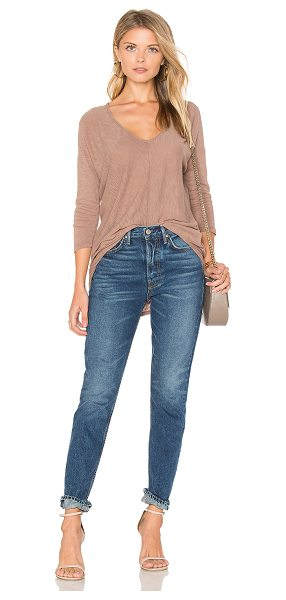 Bobi Cotton Slub V-Neck Dolman Long Sleeve Tee in brown - 100% cotton. Slub knit fabric. Asymmetrical hem....