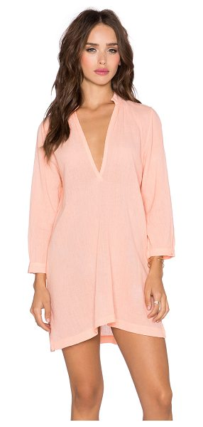 Bobi Gauze v neck tunic dress in peach