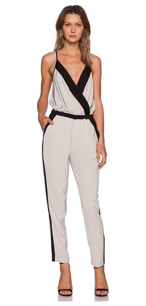 BOBI Georgette jumpsuit in beige - 100% poly. Hand wash cold. Surplice neckline....