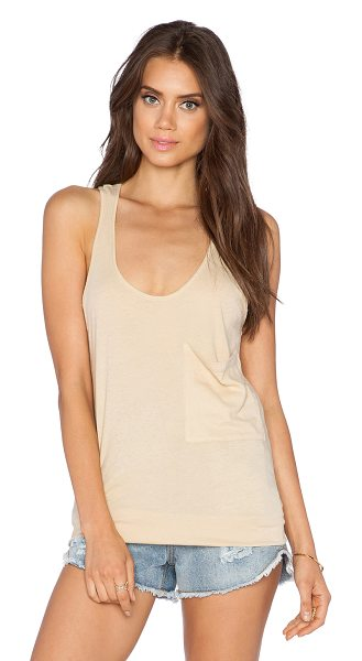 Bobi Light weight jersey racerback tank in tan - 100% cotton. Front patch pocket. BOBI-WS1655. 515 51149....